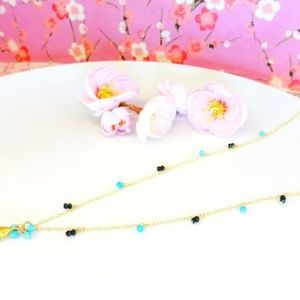 KBlossoms Jewelry - Blue paraiba turqoise 14k gold filled necklace